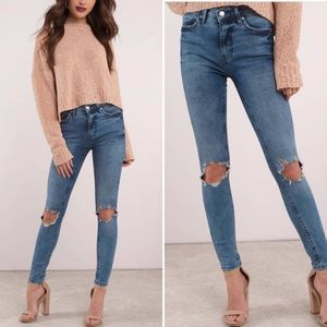 Free People High Waist Busted Skinny Jeans 32 Long